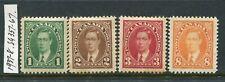 CANADA....  1937-38 KGV1  1c, 2c, 3c, 8c  mint