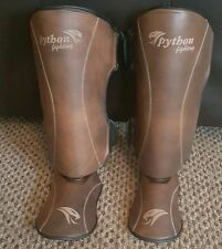 MMA Shin Guards cowhide leather traditional brown. Muay Thai  medium.