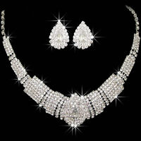 Beauty Wedding Bridal Party Prom Rhinestone Crystal Necklace Earring Jewelry Set