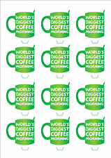 Novelty Macmillan Coffee Morning Mug Stand Up Cake Cupcake Toppers Edible Funds