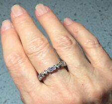 Sterling Silver Stack Ring With Clear And Lavender Stones, Size 9