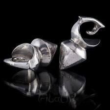 SILVER EAR pesi Gauge GIOIELLI BIANCO BRONZO allungato lobo gioielli (12)