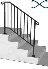 Iron X Handrail Picket #3 RAILING Rail Fits 3 or 4 Step