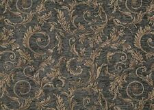 """Chenille Upholstery Saxxon Royalty blue floral Leaf Drapery home fabric 56"""" Wide"""