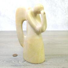 "ALIBASTER MARBLE ANGEL FIGURINE Large 7.5"" Carved Onyx Stone Prayer Statue Art!"