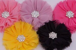 "3"" Chiffon rhinestone flower tutu dress hair decor wedding craft embellishment"