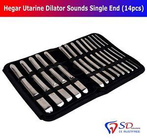 Hegar Utarine Dilator Sounds Single End 14PCS OB/Gyn Metal 4mm to 17MM Urethral