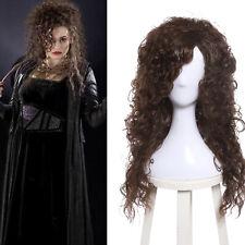 Bellatrix Lestrange Juegos con disfraces Peluca Marrón Oscuro Largo Rizado Ondulado Rapsodia Halloween