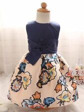 Girls dress blue and cream floral bow party flower princess 4-5 yrs new
