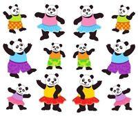 ~ Playful Pandas Panda Bear Dressed Up Dancing Dance Fun Mrs Grossman Stickers ~
