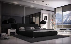 Bett 140x200 Doppelbett Designerbett Polsterbett Kunstleder Bettgestell schwarz