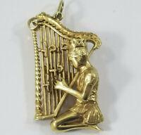 Vintage 14K Gold KING DAVID PSALMS HARP Charm Pendant 18grams