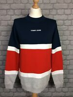 TOMMY JEANS MENS UK M COLOUR BLOCKED HIGH CREW NECK SWEATSHIRT JUMPER RRP £80