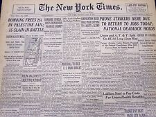 1947 MAY 5 NEW YORK TIMES NEWSPAPER - BOMBING FREE 251 IN PALESTINE JAIL - NT 20