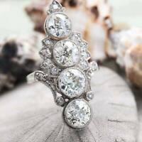 Vintage Antique Retro Art Deco Engagement Ring 4 Ct Diamond 14K White Gold Over