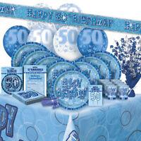 AGE 50 - Happy 50th Birthday BLUE GLITZ - Party Range, Banners & Decorations