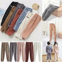 Kids Baby Boys Girls Thick Fleece Warm Trousers Winter Casual Loose Long Pants