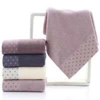 HO_ Breathable Dot Print Pure Cotton Water Absorbent Shower Towel Wash Facecloth