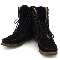 Salvatore Ferragamo boots lace-up beige suede Auth used D2145