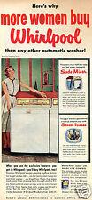 """1955 Whirlpool Washer Machine Print Ad """"Here's why more women buy Whirlpool"""""""