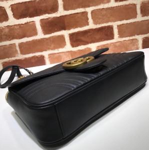 Gucci Marmont small matelassé GG chevron Handbags Shoulder Black Bag Leather