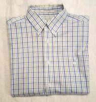 Men's Orvis Short Sleeve Button Front Checkered Shirt Sz. L