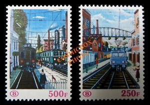 Lot 2 timbres Belgique TRAINS chemins de fer pack postal 1985 rayway tren stamp