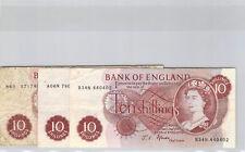 Royaume-Uni Lot de trois 10 Shillings (1966-70) Pick 373c