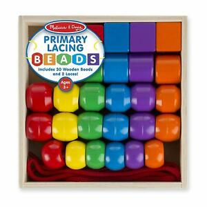 MELISSA & DOUG KIDS PRIMARY LACING WOODEN BEAD SET 30 BEADS 2 LACES NEW AGE 3+