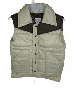 Vintage Mr. Leggs Men's Puffer Vest Medium 1970's Two Tone Brown New Old Stock