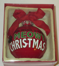 "We Wish You A Meowy Christmas Ornament Glass Ball Red Cat Pets New 4"" Kitten"