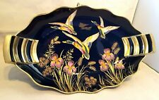 "Carlton Ware~Vintage~MCM~Mallards~Ducks~Blue~Bleu Royale~Dish~Gold Trim~11.75""L"