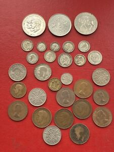 British Silver Florin 1923 Shilling 1946 22 6d 36-34-20 3d All Pics In Pic 35 Gr