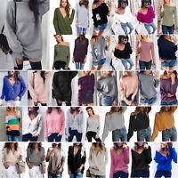 Womens Off Shoulder Knit Jumper Oversized Baggy Sweater Top Sweatshirt Pullover