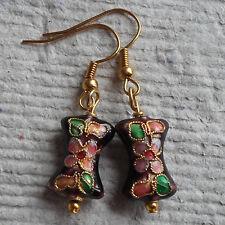 Handmade ~ Earrings ~  Maroon Cloisonné Bow ~ Drop
