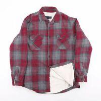 Vintage Red & Grey Check Flannel Borg Lumberjack Shirt Jacket Size Men's Medium