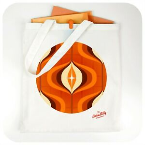 Retro 70s Tote Bag, Mid Century Style Reusable Shopping Bag, Fabric Shopper
