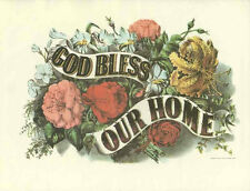 """Currier and Ives God Bless Our Home Lithograph Vintage Illustration 12 x 15"""""""