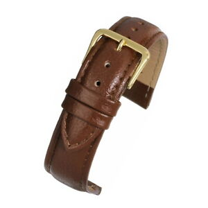 Mens real leather watch strap band padded buffalo grain black or brown 18 20 22