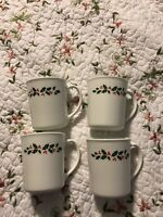 VINTAGE Corning Ware Christmas Holly Coffee Cups Mugs Milk Glass 1970 Set Of 4