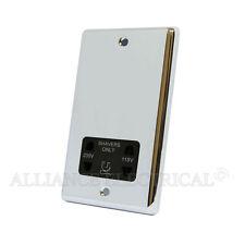 Polished Chrome Classical Shaver Socket Outlet 2 Gang Dual Voltage 115V/230V