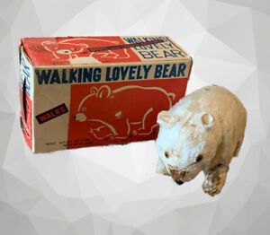 Vintage White Walking Lovely Bear Tin Toy Windup Made in Japan Box No Key # A19