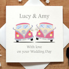 Personalised Handmade Campervan Lesbian Wedding Day Card - Them, Bride, Same Sex