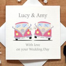 Día de boda personalizado hecho a mano caravanas lesbiana Tarjeta-ellos, novia, mismo sexo