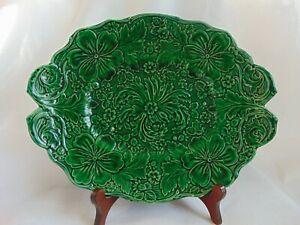 Rare Wedgwood Green Majolica Flower Pattern - Serving Platter Victorian c1880