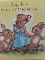 1947 Vtg M COOPER Special GIRL w BUNNIES Rust Craft EASTER GREETING CARD