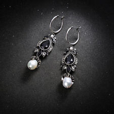 Pendientes Criollo Anillo Perlas de Cultivo Cristal Negro Abeja Retro AA29