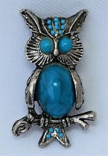 Vintage Faux Turquoise Owl Figurine Brooch Pin