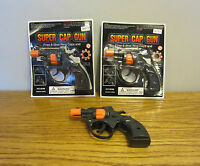 2 NEW SUPER CAP GUNS TOY PISTOL HANDGUN FIRES 8 SHOT RING CAPS KIDS REVOLVER