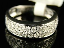 14K Ladies 2 Row White Gold Diamond Wedding Band Ring